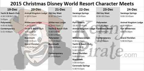 2015 Christmas Disney World Resort Character Meets KennythePirate Character Locator