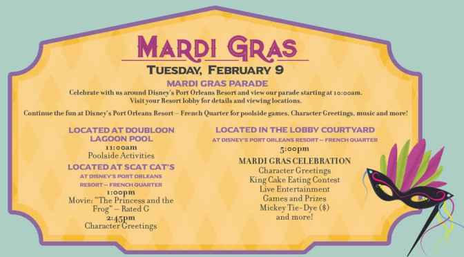 Disney World Resort Activities updated and special offerings for Mardi Gras and Valentine's Day