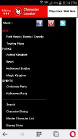 Character Locator menu