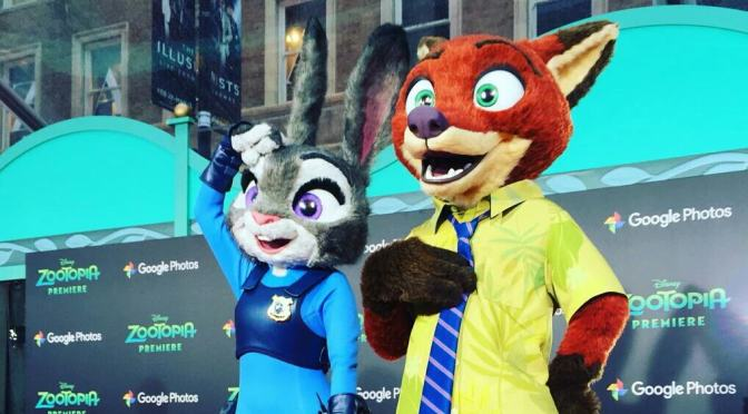 Judy Hopps and Nick Wilde from Zootopia make their Hollywood red carpet debut