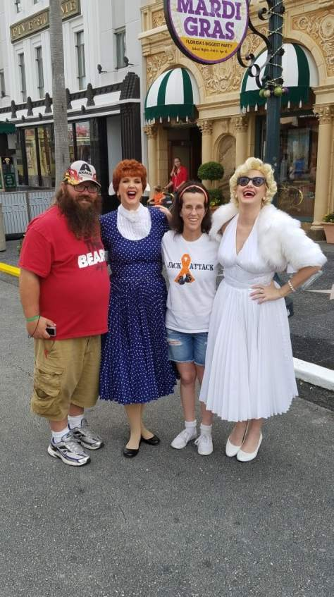 Universal Orlando Character Day with Ryan and Heather April 2016 (18) Lucy Ricardo and Marilyn Monroe
