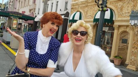 Universal Orlando Character Day with Ryan and Heather April 2016 (20) Lucy Ricardo and Marilyn Monroe