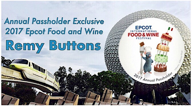 Annual Passholder Exclusive 2017 Epcot Food and Wine Remy Buttons