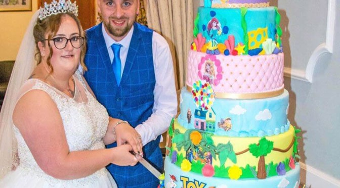 Couple Ties the Knot and Celebrates with a 10-Tiered Disney Wedding Cake