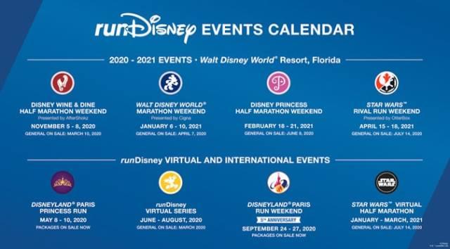 Disney Releases runDisney calendar for 2020-2021