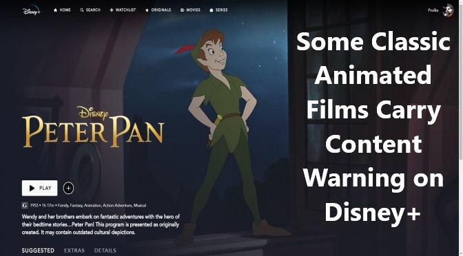 Some Classic Animated Films Carry Content Warning on Disney+