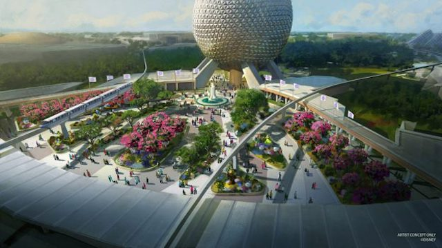 Check out this first look of the new EPCOT entrance fountain!