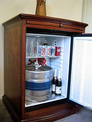 Kegerator Beer Beverage Bar Fridge Cooler Wood Cabinet
