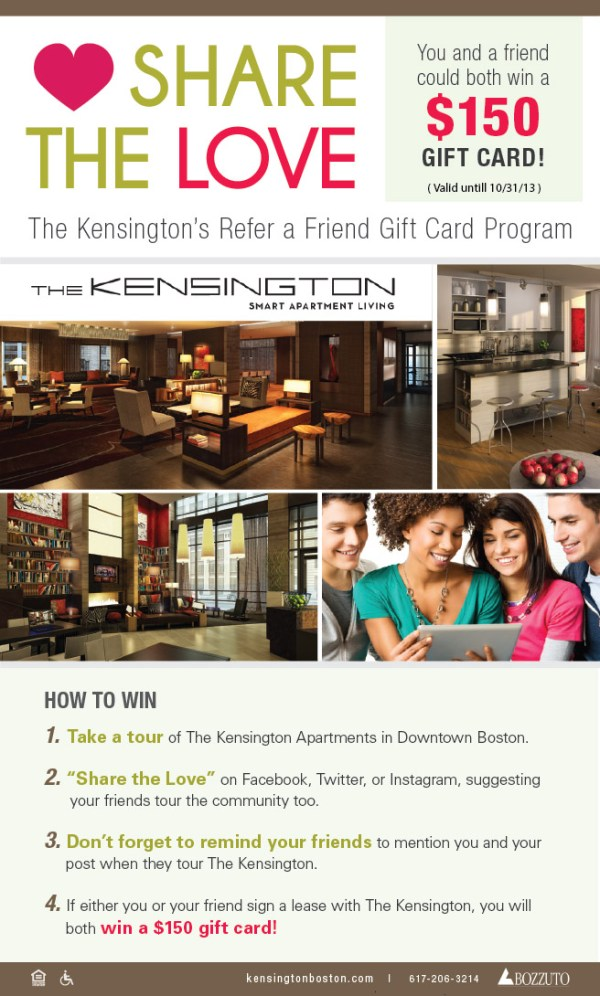 Share the Love: The Kensington's Refer a Friend Gift Card ...