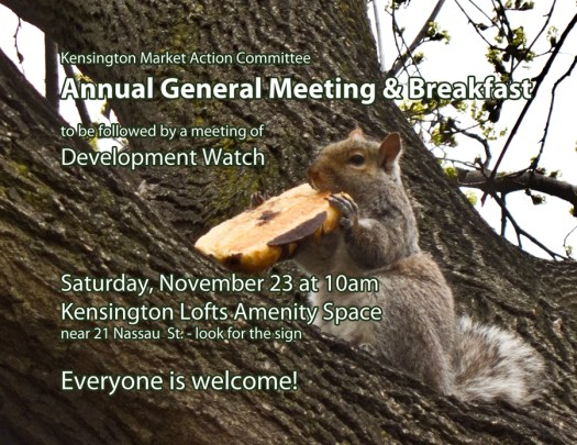 Front of 2013 KMAC AGM invite postcard - squirrel eating a toasted chocolate bagel