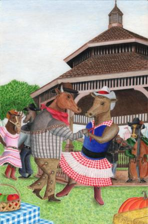 Title: Dancing with the Steers (2010 Santa Cruz County Fair Winning Poster)  Medium: Colored pencils Date: February 10, 2011 Dimensions: 16 inches x 11 inches