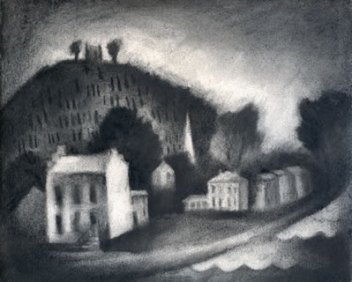 charcoal drawing of the John Parker House in Ripley, OH