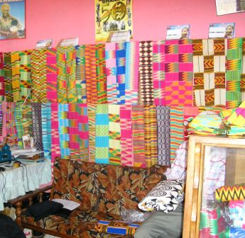 kente cloth on display
