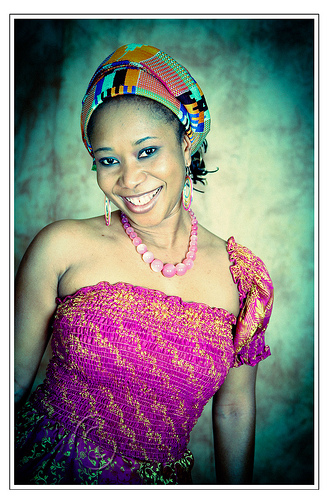 woman wearing kente headwrap