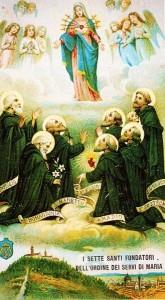 www.heiligen-3s.nl/heiligen/02/17/02-17-1310-stichters.php +++ halverwege 20e eeuw(?), devotieprentje. Italië.