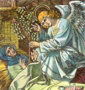 www.heiligen-3s.nl/heiligen/06/14/06-14-1433-Lidwina-Schiedam.php +++ < 1500. Ingekleurde houtgravure. Duitsland(?), in Läpple: 'Mit den Heiligen...'. Een engel reikt Lidwina een rozenstruik aan, tegelijk symbool van haar liefde en haar lijden.