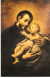 www.heiligen-3s.nl/heiligen/08/07/08-07-1547-cajetanus.php +++ Het traditionele beeld van Pater Cajetano gaat terug op het visioen dat hij mocht hebben. Bij die gelegenheid zou hij het Kind hebben mogen vasthouden. ca 1955(?), devotieprentje. Italië.