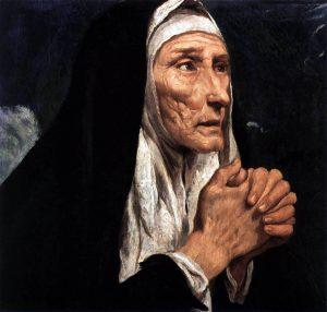 95kb jpg image of the painting 'Saint Monica', by Luis Tristán de Escamilla, 1616, oil on canvas, Museo del Prado, Madrid, Spain