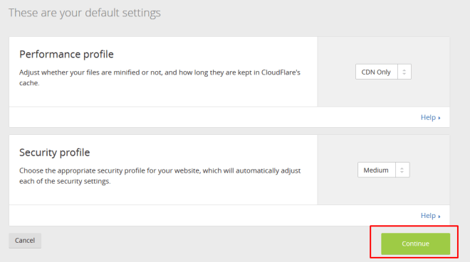 default setting cloudflare