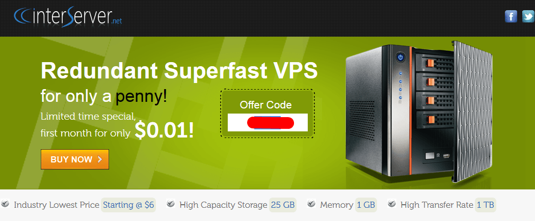promo vps interserver 0.01 dollar
