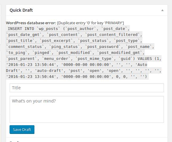 Cara Mengatasi WordPress database error: [Duplicate entry '0' for key 'PRIMARY']