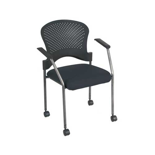 Premiera Arc Stackable Guest Chairs With ArmsCasters