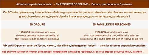 Tableau safari kenya prix pour 7 jours Nakuru Masaï Mara en privé ou en groupe