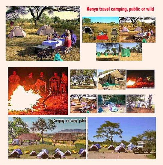 Kenya travel camping public or wild camps. Camping safari