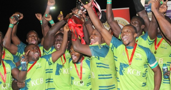 KCB players celebrate after beating Impala Saracens 26-14 to win the 2015 title/Photo/Courtesy