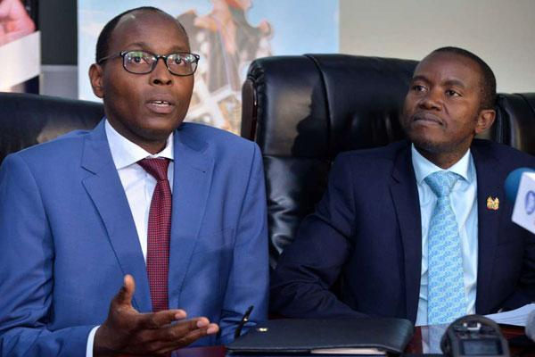 Former Nairobi Finance executive Charles Kerich and ICT CS Joe Mucheru. He was suspended in September over the Precious Talent School tragedy.