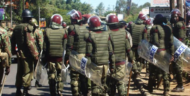 Kenya Police during a riot. Photo: Daily Nation.