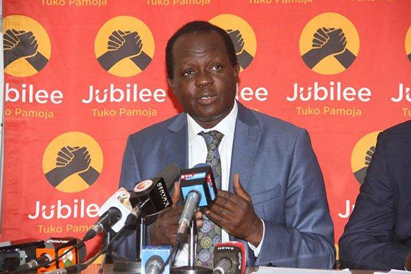 Jubilee Party Secretary-General Raphael Tuju addressing a press conference on July 22, 2018 at the party headquarters.