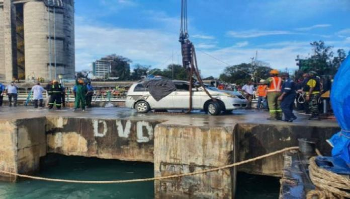 The car that Mariam Kigenda and Amanda Mutheu were travelling in after being pulled out of the Indian Ocean on October 11, thirteen days after it slid off a ferry ramp on the Likoni Channel
