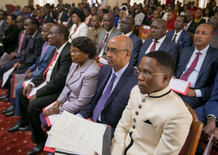 Chief Administrative Secretaries at a past event. Members of the National Assembly admitted to finding it hard to question the secretaries on the basis that their roles are not defined by the constitution.