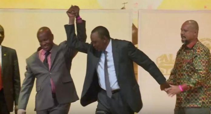 President Uhuru Kenyatta with his Friend and longtime classmate Tony Munene (left) at a past event at St Mary