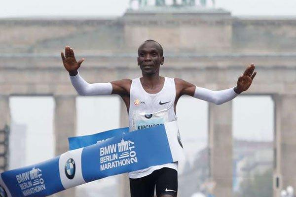 Eliud Kipchoge when he broke the World Marathon record in 2017 Berlin Marathonn