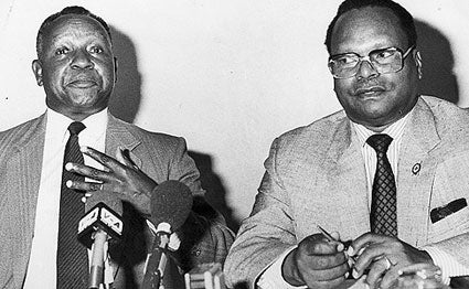 Kenneth Matiba (left) and Charles Rubia who held a presser in 1990 urging the government to embrace multi-party politics.