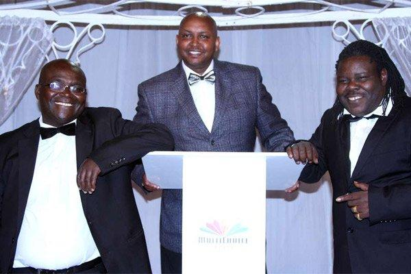 Hiram Mungai, Peter Sankale, and Mathias Keya when they bagged a Kalasha award for best comedy of the year 2017 with Hullabaloo that airs on Maisha Magic.