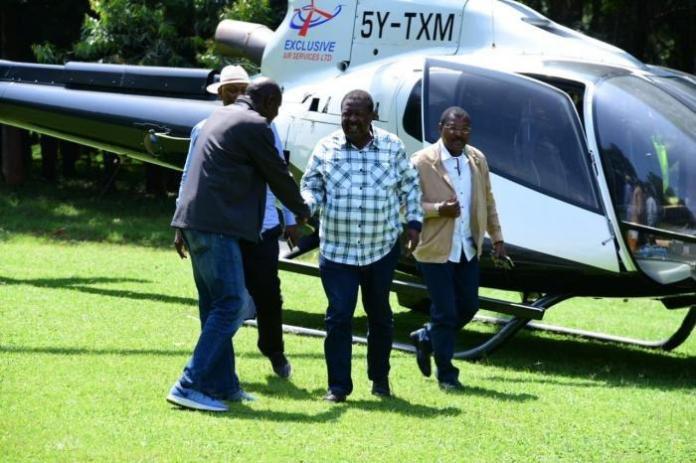 ANC Leader Musalia Mudavadi, and Senator Moses Wetangula arrive for the Western BBI consultative meeting at the Bukhungu Stadium on Saturday, January 18, 2020.