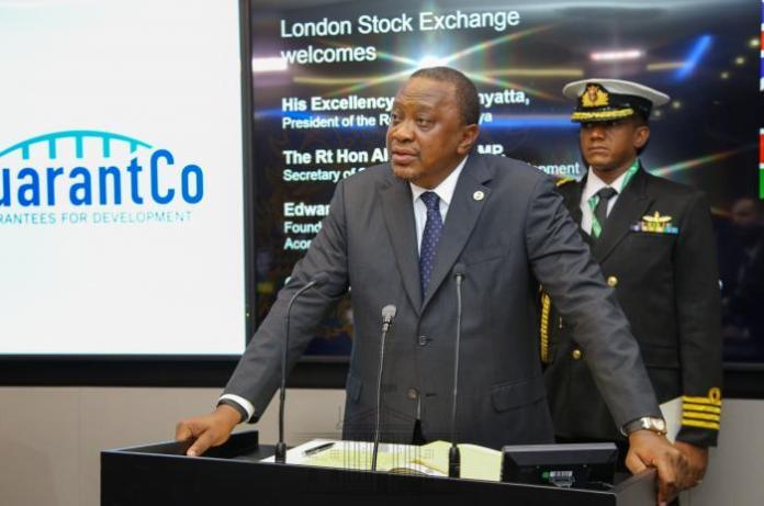 President Uhuru Kenyatta during the launch of Kenya's green bond at the London StockExchange on Sunday, January 19, 2020.