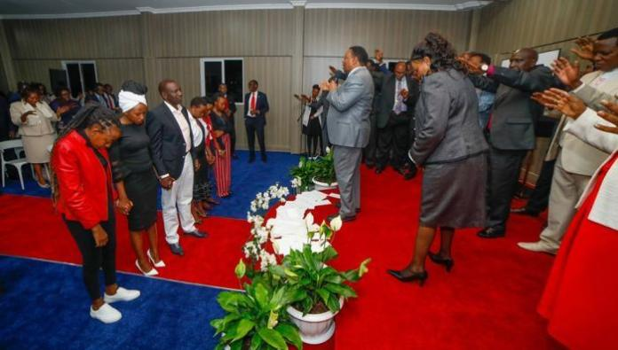 Religious leaders pray for the family of Deputy President William Ruto at his National Prayer Altar at his official residence in Karen, Nairobi in August 2019. On Thursday, January 23, Ruto asserted that he was not a troubled man