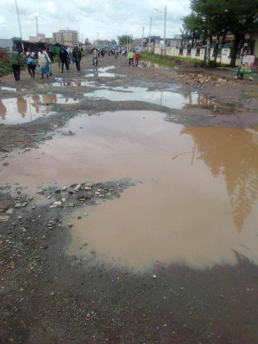 A section of the Kasarani-Mwiki road pictured on Wednesday, January 15