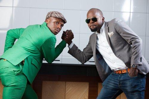 Jalang'o strike a pose with Radio Milele morning show co-host Alex Mwakideu.
