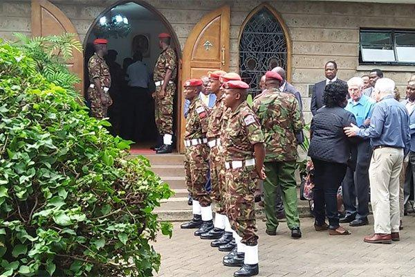 Kenya Defence Forces (KDF) soldiers at Lee Funeral Home on February 4, 2020, where the body of former President Daniel Arap Moi is being preserved