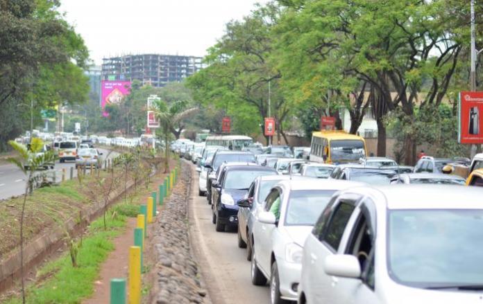 Cars stuck in traffic along Uhuru Highway