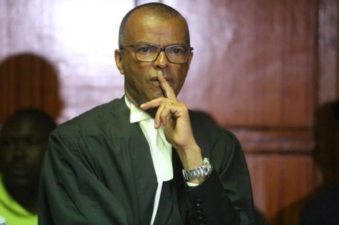 Sarah Wairimu's lawyer Philip Murgor at a Milimani court in September 2019.