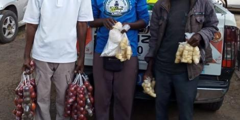 Three hawkers who were arrested by National Environmental Management Authority (NEMA) for the use of plastic bags on Monday, February 17, 2020.