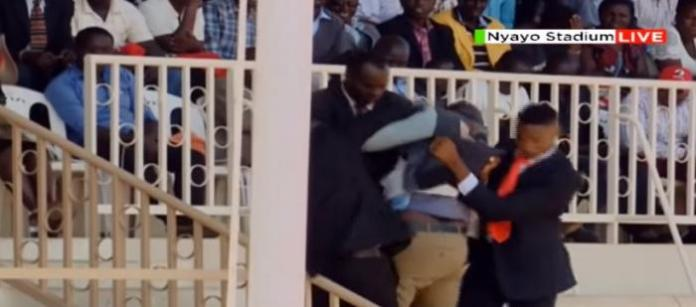 The 30-year-old Daniel Wekesa being thrown out of Mzee Moi
