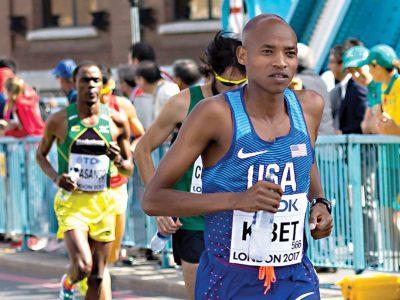 Elkanah Kibet participates in the Boston Marathon in April 2018