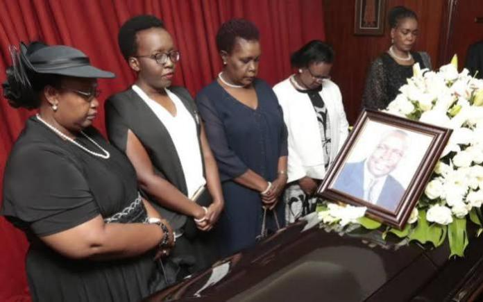 The late Jonathan's wife Sylvia Toroitich, daughter Barbra Jonathan, Jonathan's Sister Doris Elizabeth, family friend Mary Mengech and Elizabeth Kimkung at Lee Funeral Home in April 2019